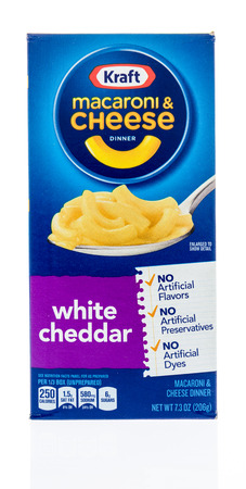 Winneconne, WI - 18 January 2018: A box of Kraft macaroni and cheese in white cheddar on an isolated background. Editorial