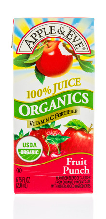 Winneconne, WI - 18 January 2018: A carton of Apple and Eve organics juice in fruit punch flavor on an isolated background.