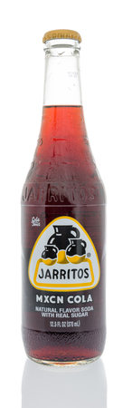 Winneconne, WI - 18 January 2018: A bottle of Jarritos mxcn cola on an isolated background.