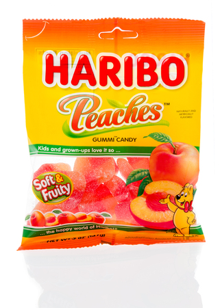 Winneconne, WI - 18 January 2018: A package of  Haribo peaches gummi candy on an isolated background.