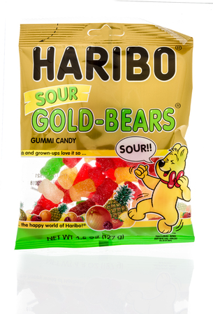 Winneconne, WI - 18 January 2018: A package of  Haribo sour Gold bears gummi candy on an isolated background.