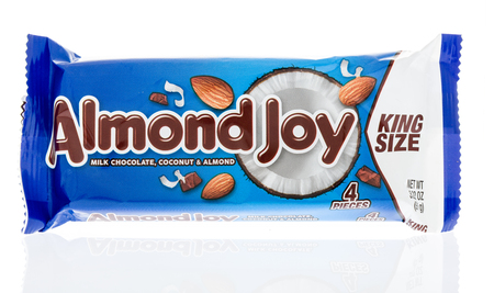 Winneconne, WI - 18 January 2018: A package of a King Size Almond Joy on an isolated background.