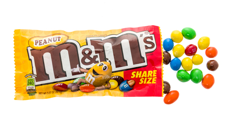 Winneconne, WI - 18 January 2018: A package of a share size peanut M&Ms on an isolated background. Editorial