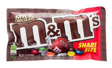 Winneconne, WI - 18 January 2018: A package of a share size M&M's on an isolated background.