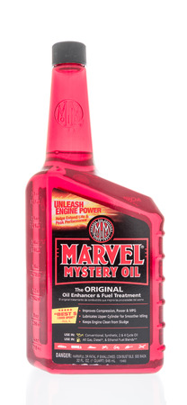 Winneconne, WI - 31 January 2018: A bottle of Marvel Mystery oil on an isolated background.