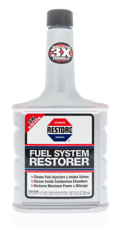 Winneconne, WI - 31 January 2018: A bottle of Restore fuel system restorer on an isolated background.