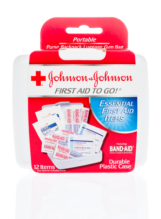 Winneconne, WI - 31 January 2018: A package of Johnson-Johnson first aid kit to go an isolated background. Editorial