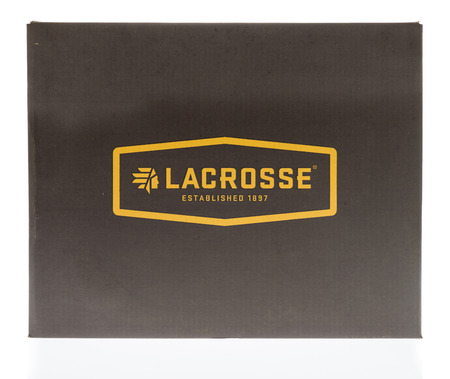Winneconne, WI - 7 February 2018: A shoe box featuring Lacrosse on an isolated background. Editorial
