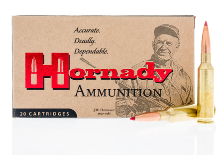 Winneconne, WI - 7 February 2018: A box of Hornady ammunition in 6.5 creedmoor on an isolated background.
