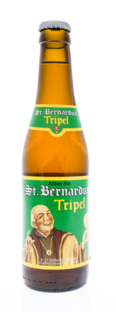 Winneconne, WI - 2 March 2018: A bottle of St. bernardus beer on an isolated background.
