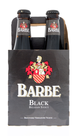 Winneconne, WI - 2 March 2018: A four pack of Barbe black stout beer on an isolated background.