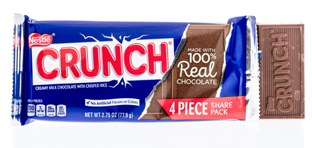 Winneconne, WI - 7 March 2018: A Nestle Crunch 4 peice share pack on an isolated background.