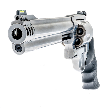 A silver revolver on an isolated background