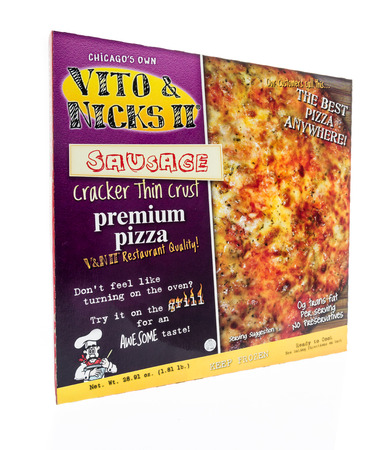Winneconne, WI - 17 March 2018: A box of Vito and Nicks II of Chicago meaty legend pizza on an isolated background.