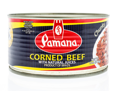 Winneconne, WI - 27 February 2018: A can of Pamana corned beef from Brazil on an isolated background.