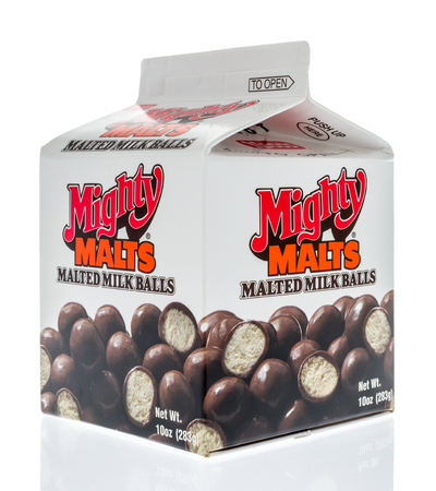Winneconne, WI - 17 March 2018: A box of Mighty Malts malted milk balls candy on an isolated background.