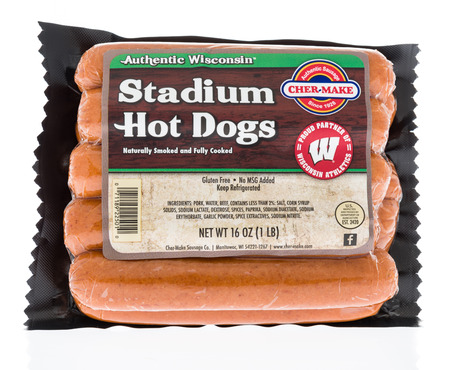 Winneconne, WI - 21 March 2018: A package of Cher-make stadium hot dogs on an isolated background. Editorial