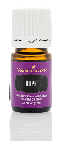 Winneconne, WI - 23 March 2018:  A bottle of Young Living Hope essential oil on an isolated background.