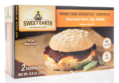 Winneconne, WI -  7 April 2018: A box of Sweet Earth farmstand breakfast sandwich on an isolated background.