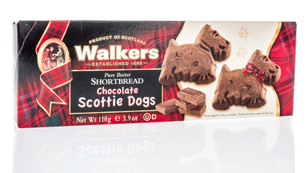 Winneconne, WI - 7 April 2018: A box of Walkers pure butter shortbread chocolate scottie dogs cookies on an isolated background.