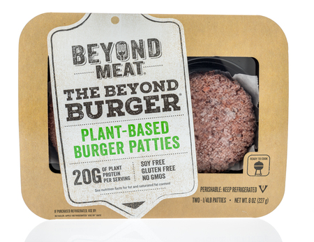Winneconne, WI -  14 April 2018: A package of Beyond meat the beond burger plant-baset burger patties on an isolated background.