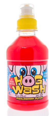 Winneconne, WI -  16 April 2018: A bottle of Hog Wash piggleberry punch drink for kids on an isolated background.