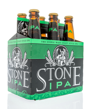 Winneconne, WI -  20 April 2018: A six pack of Stone IPA beer on an isolated background.