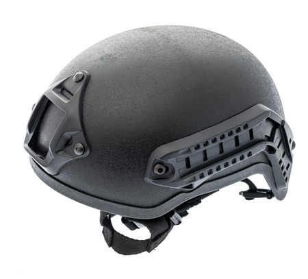 A modern day bump helmet with rails to mount other gear on it