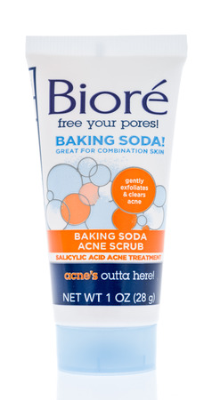 Winneconne, WI -  21 April 2018: A tube of Biore free your pores baking soda acne scrub on an isolated background. Editorial