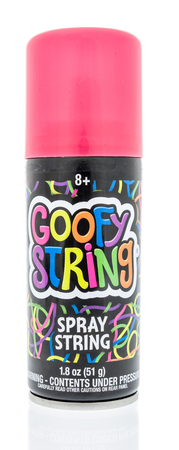 Winneconne, WI -  28 April 2018: A can of Goofy string spray string an isolated background. Editorial