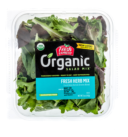 Winneconne - 15 May 2018: A package of Fresh Express organic salad fresh herb mix on an isolated background