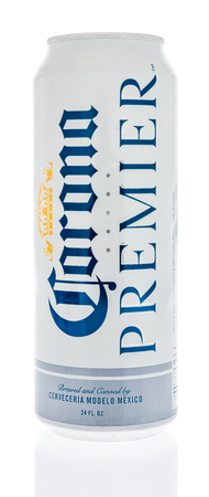 Winneconne - 7 June 2018: A can of Corona Premier beer on an isolated background.