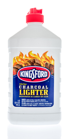 Winneconne, WI - 15 June 2018: A bottle of Kingford charcoal lighter fluid on an isolated background.