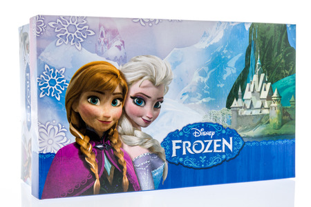 Winneconne, WI - 17 June 2018: A shoe box featuring Disney Frozen on an isolated background. Editorial