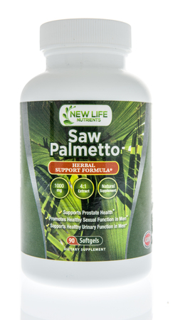 Winneconne, WI - 1 July 2018: A bottle of New Live Nutrients saw palmetto supplement on an isolated background.