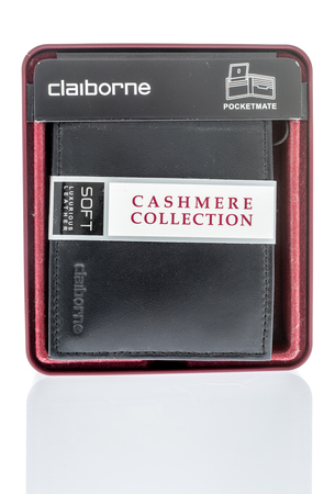 Winneconne, WI - 7 June 2018: A package of a Clariborne cashmere collection mens wallet on an isolated background.