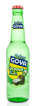 Winneconne, WI - 7 July 2018: A can of bottle of Goya coconut soda drink on an isolated background.