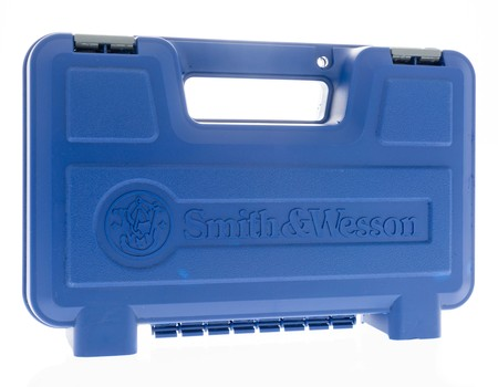 Winneconne, WI - 25July 2018 -  A Smith and Wesson handgun case that can include models 500, 460, 357 magnum revolvers and M&P 45, 9mm, 380 and 22 LR tactical handguns on an isolated background. Editorial