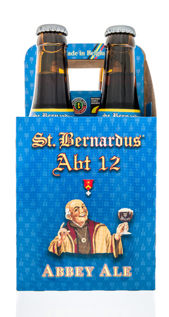 Winneconne, WI - 21 July 2018 -  A four pack of St. Bernardus ABT 12 abbey ale beer on an isolated background.