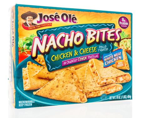 Winneconne, WI - 25 July 2018 -  A box of Jose Ole nacho bites with chicken and cheese in crunchy corn tortillas on an isolated background.
