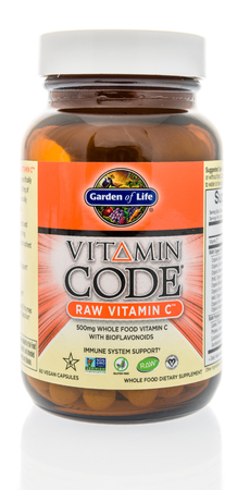 Winneconne, WI - 7 August 2018: A bottle of Garden of Life Vitamin Code vitamin C supplement on an isolated background