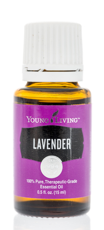 Winneconne, WI - 27 July 2018: A bottle of Young Living Lavender on an isolated background