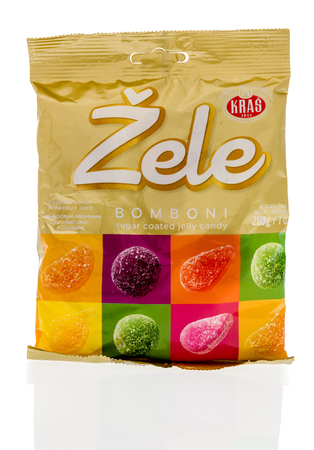 Winneconne, WI - 20 August 2018: A package of Kras Zele bomboni sugar coated jelly candy from Croatia on an isolated background