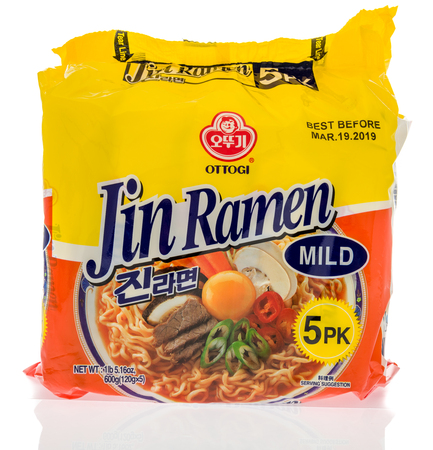 Winneconne, WI - 7 October 2018: A package of Ottogi Jin Ramen noodles on an isolated background 報道画像