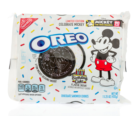 Winneconne, WI - 14 October 2018: A package of Oreo limited edition birthday cake flavor featuring Mickey Mouse on an isolated background