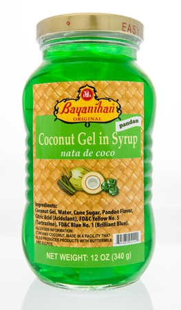 Winneconne, WI - 7 October 2018:  A bottle of Bayaninihan original coconut gel in syrup on an isolated background.
