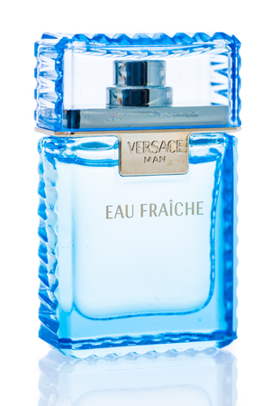 Winneconne, WI - 1 December 2018: A bottle of Versace Eau Fraiche cologne for men on an isolated background. Editorial