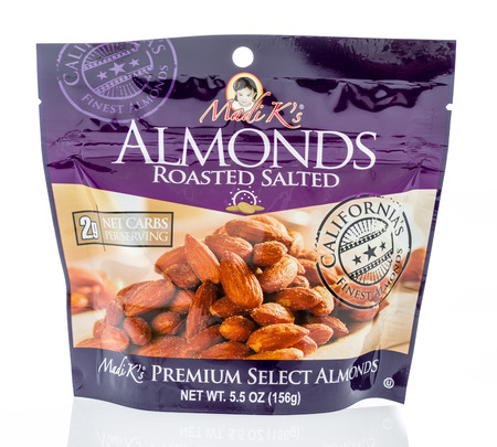 Winneconne, WI - 8 December 2018: A package of Madi Ks almonds on an isolated background.