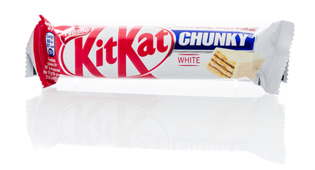 Winneconne, WI - 10 December 2018: A package of Nestle KitKat white chocolate chunky candy bar on an isolated background.