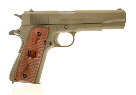 Winneconne, WI - 4 December 2018:  A Springfield 1911 A1 from WWI or World War 1 with a US on the handle on an isolated background.